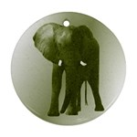 Green Elephant Mosaic Ornament (Round)