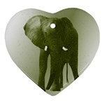 Green Elephant Mosaic Ornament (Heart)