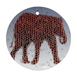 Red Elephant Calf Mosaic Ornament (Round)