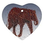 Red Elephant Calf Mosaic Ornament (Heart)