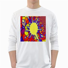 Embroidery Dab Color Spray White Long Sleeve T Shirts