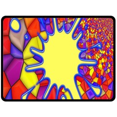 Embroidery Dab Color Spray Fleece Blanket (large)