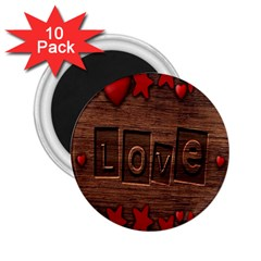 Background Romantic Love Wood 2 25  Magnets (10 Pack)