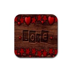 Background Romantic Love Wood Rubber Coaster (square)