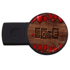 Background Romantic Love Wood Usb Flash Drive Round (4 Gb)