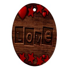 Background Romantic Love Wood Oval Ornament (two Sides) by Sapixe