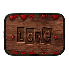Background Romantic Love Wood Netbook Case (medium)  by Sapixe