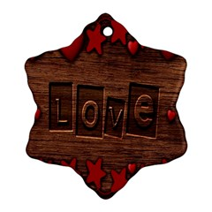 Background Romantic Love Wood Snowflake Ornament (two Sides) by Sapixe