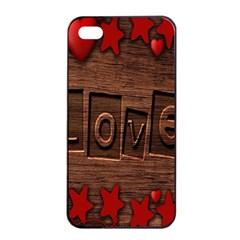 Background Romantic Love Wood Apple Iphone 4/4s Seamless Case (black)