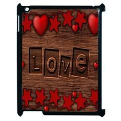Background Romantic Love Wood Apple Ipad 2 Case (black)