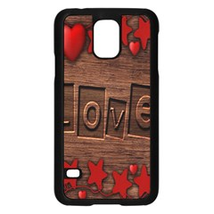 Background Romantic Love Wood Samsung Galaxy S5 Case (black)