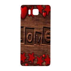 Background Romantic Love Wood Samsung Galaxy Alpha Hardshell Back Case by Sapixe