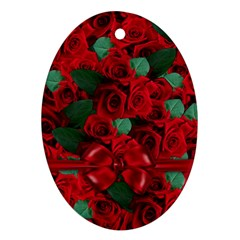 Floral Flower Pattern Art Roses Ornament (oval)
