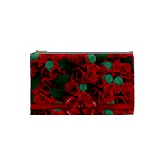 Floral Flower Pattern Art Roses Cosmetic Bag (small)