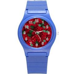 Floral Flower Pattern Art Roses Round Plastic Sport Watch (s)
