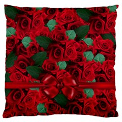 Floral Flower Pattern Art Roses Large Flano Cushion Case (one Side)