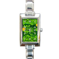 Background Texture Green Leaves Rectangle Italian Charm Watch by Sapixe