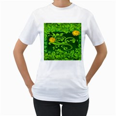 Background Texture Green Leaves Women s T Shirt (white) (two Sided)