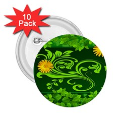 Background Texture Green Leaves 2 25  Buttons (10 Pack)