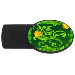 Background Texture Green Leaves Usb Flash Drive Oval (4 Gb)