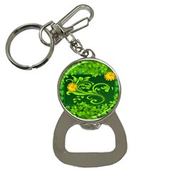 Background Texture Green Leaves Bottle Opener Key Chains