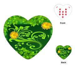 Background Texture Green Leaves Playing Cards (heart)