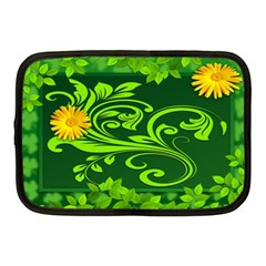 Background Texture Green Leaves Netbook Case (medium)