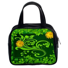 Background Texture Green Leaves Classic Handbags (2 Sides)