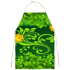 Background Texture Green Leaves Full Print Aprons