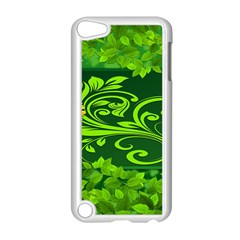 Background Texture Green Leaves Apple Ipod Touch 5 Case (white)