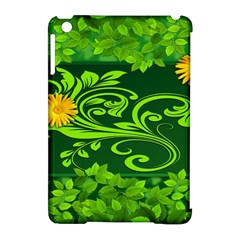 Background Texture Green Leaves Apple Ipad Mini Hardshell Case (compatible With Smart Cover)