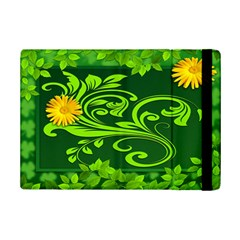 Background Texture Green Leaves Ipad Mini 2 Flip Cases