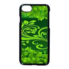 Background Texture Green Leaves Apple Iphone 7 Seamless Case (black) by Sapixe