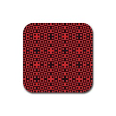 Abstract Background Red Black Rubber Square Coaster (4 Pack)