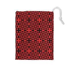 Abstract Background Red Black Drawstring Pouches (large)