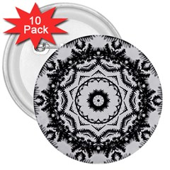 Abstract Pattern Fractal 3  Buttons (10 Pack)