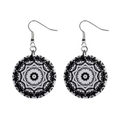 Abstract Pattern Fractal Mini Button Earrings