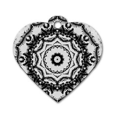 Abstract Pattern Fractal Dog Tag Heart (two Sides)