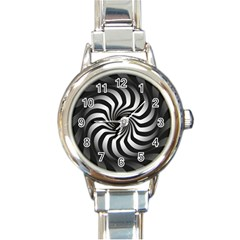 Art Optical Black White Hypnotic Round Italian Charm Watch