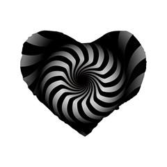Art Optical Black White Hypnotic Standard 16  Premium Flano Heart Shape Cushions