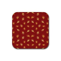 Primitive Art Hands Motif Pattern Rubber Square Coaster (4 Pack)