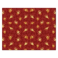 Primitive Art Hands Motif Pattern Rectangular Jigsaw Puzzl