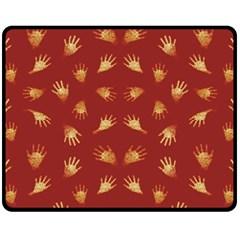Primitive Art Hands Motif Pattern Fleece Blanket (medium)