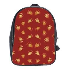 Primitive Art Hands Motif Pattern School Bag (xl)