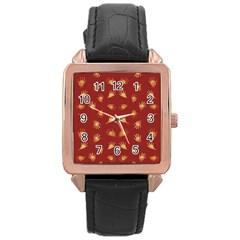 Primitive Art Hands Motif Pattern Rose Gold Leather Watch