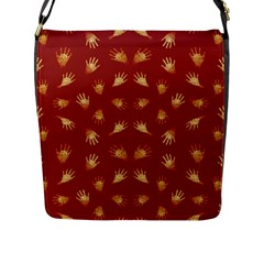 Primitive Art Hands Motif Pattern Flap Messenger Bag (l)