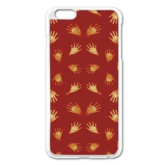 Primitive Art Hands Motif Pattern Apple Iphone 6 Plus/6s Plus Enamel White Case