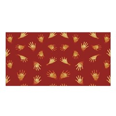 Primitive Art Hands Motif Pattern Satin Shawl