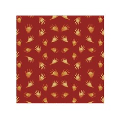 Primitive Art Hands Motif Pattern Small Satin Scarf (square)