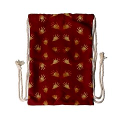 Primitive Art Hands Motif Pattern Drawstring Bag (small)